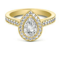 1.80 Ct Pear Cut Diamond Solitaire Engagement Ring 14K Real Yellow Gold Size J K