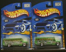 2 New Hot Wheels Fossil Fuel Series School Bus 041 1/4 Green