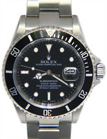 Rolex Submariner Date Steel Black Dial/Bezel Mens 40mm Watch Box/Papers F 16610