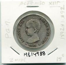 2 PESETAS ALFONSO XIII AÑO 1892 *1.*92 PG.M   ( MB14988 )