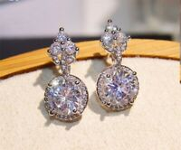 3.75Ct Round Cut Moissanite Drop/Dangle Female Earrings 14K White Gold Finish