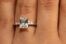 18K White Gold Finish 1.50ct Diamond Emerald Anniversary Engagement Ring size5.5