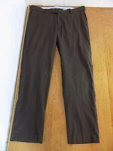 Peter Millar Mens Golf Pants Sz 36 W X 30 L Dark Brown Slacks Flat Front Stretch