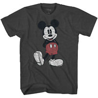 Disney Mickey Mouse Full Pose Distressed Charcoal Heather Men's T-Shirt New
