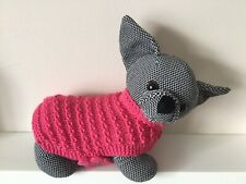 """xxs 6"""" long coral pink knitted dog coat jumper for chihuahua, yorkie, teacup,pug"""