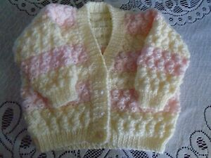 """New Hand Knitted Pink/Lemon Cardigan 18/20"""" chest  (6-12 months)"""