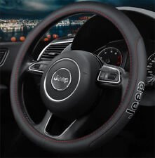 """15"""" Car Steering Wheel Cover Genuine Leather For Jeep"""