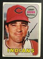 Larry Brown Indians signed 1969 Topps baseball card #503 Auto Autograph