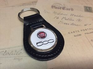 FIAT 500 PEAR BLACK LEATHER KEY RING 500