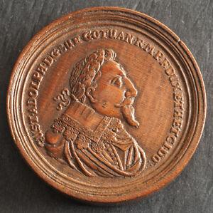 1632, Sweden, Gustav II Adolphus. Beautiful Boxwood Medal by Martin Brunner. R!