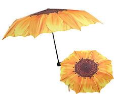 Womens Lady Sunflower Folding Compact Travel Rain Windproof Anti UV Sun Umbrella
