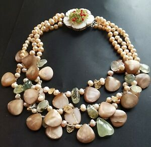 necklace Freshwater pearl,shell,nugget Prehnite,Citrine quartz,flower clasp A1
