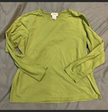 TALBOTS Long Sleeve Green Top Woman's XL Casual Preppy