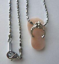 pink silver-flower petite adorable Necklace Pendant- Flip flop light