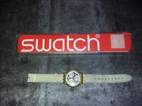 Montre Homme Swatch chrono à quartz - 1993 - bracelet cuir - pile neuve - etui
