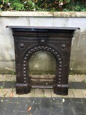 More details for antique victorian cast iron fireplace / fire surround, arched