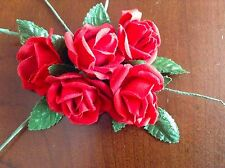 """Vintage Millinery Flower Rose 5pc Lot Cotton 1 1/8"""" True Red for Hair Crown UA"""