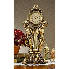 Rococo Style Antique Gold Finish Angel Cherub Mantle Clock Clocks NEW