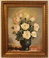 "Vintage Oil Painting on Canvas Still Life Flowers Signed Framed Art (12"" x 10"")"