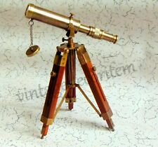 Nautical Decorative Solid Brass Antique Telescope with Vintage wooden stand Gift