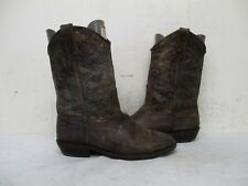 Steve Madden Lasoo Distressed Brown Leather Cowboy Boots Size 9.5 M