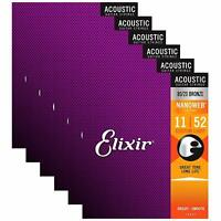 6x Elixir 80/20 Bronze Nanoweb Custom Light 11027 11-52 Acoustic Guitar Strings