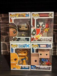 Funko Pop Vinyl Marvel Bundle x4 Deadpool/Spider-Man/Black Panther/Thing BNIB