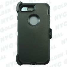 Black iPhone 7 Plus Defender Case Cover w/[Clip Fits Otterbox] &Screen Protector