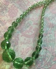 Vintage Art Deco Czech Green Vaseline Faceted Glass  Bead Necklace-Estate