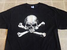 SKULL & CROSS BONES detailed art T-SHIRT XL human skeleton pirate classic simple