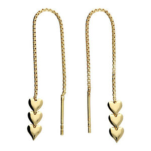 9ct Yellow Gold on Silver Heart Dropper Pull Through Earrings