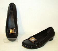 STUART WEITZMAN Black Shiny Leather Huge Rhinestone Loafers Shoes Flats 9 M EUC