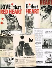 8 DOG FOOD Vintage Ad RED HEART Vitality BORDEN'S German Shepherd GREAT DANE
