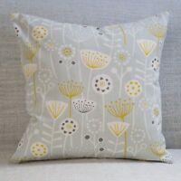 Scandinavian Retro Floral Cushion. 100% Cotton. Grey & Mustard Yellow Geometric.