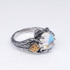 Women Fashion Vintage Moonstone Rings Flower Leaf Finger Ring Jewelry Lover Gift