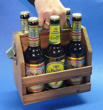 Flaschenträger Bierträger Flaschenkorb Holz-Kiste mit Flaschenöffner        3168