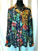 EUC Desigual L Multicolor Floral Hidden Button Front Collared Long Sleeve Blouse