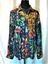 EUC Desigual L Multicolor Floral Hidden Button Front Collared Long Sleeve Blouse