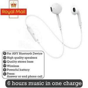 Wireless Headphones Premium Earphones Stereo Extra Bass White For IOS Android