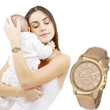 Gift Present For Mother's Day Women Lady Geneva Faux Leather Quartz Wrist Watch