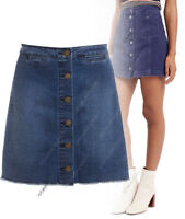 New Womens Button Up Denim Skirt A-Line Indigo wash Jean Sizes 8 10 12 14