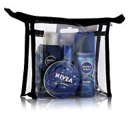 NEW NIVEA MENS HOLIDAY TRAVEL GIFT SET- DEODORANT, LIP BALM, SHOWER GEL & CREAM