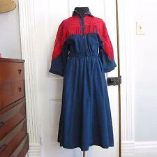 Vintage Western Denim Dress Red Lace Fringe Size M L Walnut Square Dancing