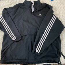Adidas Mens Sz XL Windbreaker Lined Vented Black White Vintage 1/2 Button