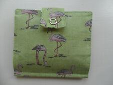 Handmade Tea Bag Wallet Green with Pink Flamingos