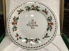 Vintage~ A Cup Of Christmas Tea Cookie Plate 10.5 Fine Bone China Tom Hegg~NIB