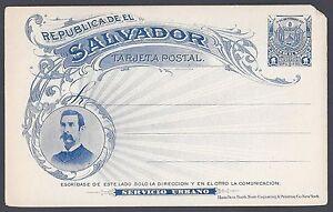 EL SALVADOR 1897 TARJETA POSTAL CARD 1¢ SERVICIO URBANO