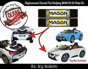 Personalizza Targa Adesivo Per Rollplay BMW I8 Auto 6V Alimentato a Batteria