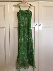 "Gorgeous Vintage 70s Green Floral Maxi Dress SNAZZI Size 12 ( 34"" Bust )8-10?"