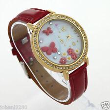 Uurwerk, siersteentjes / polymeer, goudkleur, armband rood Ø 40,5 mm L = 25 cm